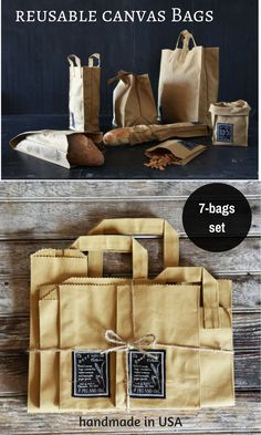 These bags are intended to replace everyday common and disposable paper goods. It's reusable, washable and made in USA. 100% cotton canvas. Now, you can get all 7 bags with the price of 6! #zerowaste #reusable #madeinusa #cottonbags #affiliate