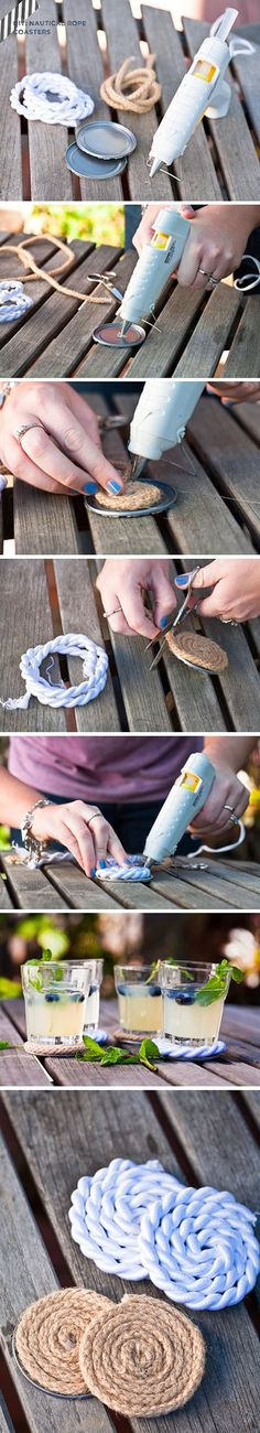 DIY Nautical Rope Coasters. don't even need to put it on a base if you want.