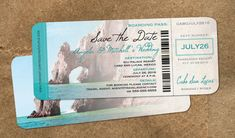 Cabo Save the Date Boarding Pass with Envelopes // Cabo Mexico  // Aquamarine El Arco Rock Formation Photo // Baja Destination Wedding