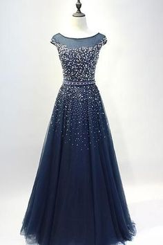 Dark blue tulle sequins round neck full-length prom dresses, A-line evening dresses with straps, Shop plus-sized prom dresses for curvy figures and plus-size party dresses. Ball gowns for prom in plus sizes and short plus-sized prom dresses for A Line Prom Dresses, Modest Dresses, Trendy Dresses, Homecoming Dresses, Evening Dresses, Long Dresses, Wedding Dresses, Wedding Shoes, Party Dresses