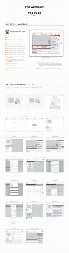 iPhone Wireframes for Car Care Tablet App