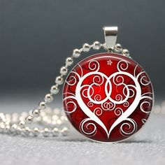 Valentine's Day Red and White Swirly Heart by ThePendantGallery, $8.95