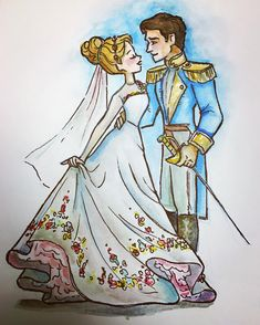 If you love Cinderella's wedding dress (and I dooooooo) then you will DIE when you see the dress Belle wears at the end of the new movie. Disney Princess Art, Disney Fan Art, Disney Love, Arte Disney, Disney Magic, Disney Pixar, Disney Animation, Cinderella Drawing, Cinderella Art
