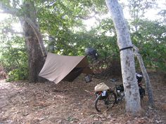 Bike Camping with Hammock Bike: check  Hammock: check  Hammock cover: waiting