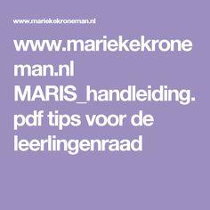 www.mariekekroneman.nl MARIS_handleiding.pdf tips voor de leerlingenraad
