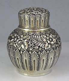 Tiffany Repousse Sterling Tea Caddy decorated with flowers - Circa 1880