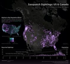 Looking for Bigfoot with Big Data? Infographic Shows Sightings of Bigfoot in Last Century - SiliconANGLE Bigfoot Hunter, Bigfoot Sasquatch, Finding Bigfoot, Bigfoot Sightings, World History Lessons, Unexplained Mysteries, Cryptozoology, Travel Images, At Least