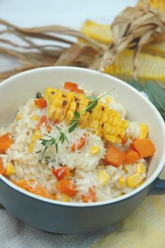 Winter-warming roasted garlic, corn and butternut risotto