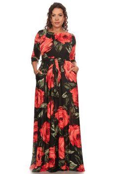 Plus Size Dandelion Dream-Red Maxi Dress