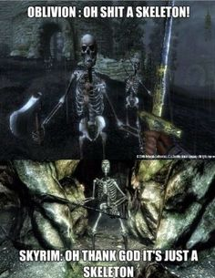 Omg i did this and died like 10 million times in oblivion in skyrim i be like COME AT ME BRO!!!yup truth