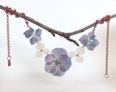 Flower girl Pressed flower necklace Real flower by MissMayoShop