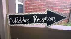 """""""Wedding Reception"""" Wooden Arrow Sign from Something Sweet Vintage Boutique in Kansas City. www.Facebook.com/somethingsweetkc"""