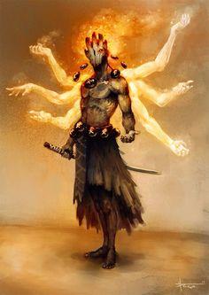 A spirit of fire? An Asura? Some evil grandmaster?