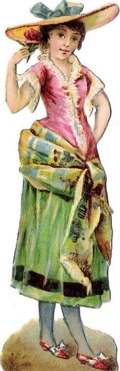 Oblaten Glanzbild scrap die cut chromo Lady Dame femme Kind child Hut hat girl
