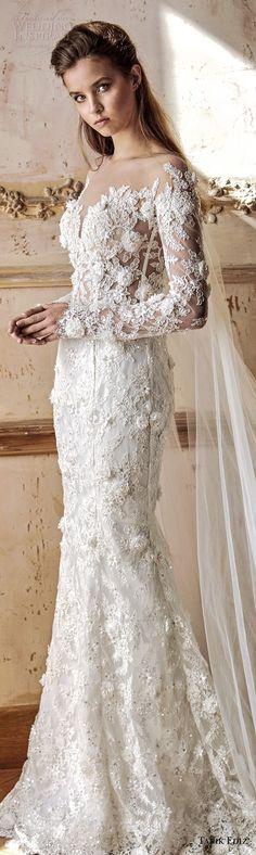 tarik ediz 2017 bridal long sleeves sweetheart neckline full embellishment elegant fit and flare wedding dress chapel train sweep train (26) lv