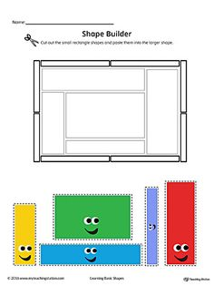 Geometric Shape Builder Worksheet: Rectangle (Color). Cut out the Rectangle shapes and paste them into the larger shape in this printable worksheet. Perfect for preschool children to practice recognizing shapes.