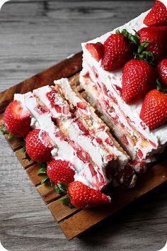 Strawberries & Cream Icebox Cake {Mind Over Batter} www.MadamPaloozaEmporium.com www.facebook.com/MadamPalooza