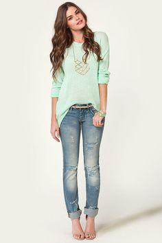 Darling Mint Sweater - Oversized Sweater - Knit Sweater - $42.00