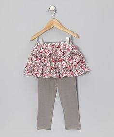 Look what I found on #zulily! Pink & Gray Liberty Ruffle Skirted Leggings - Infant & Toddler by Petit Confection #zulilyfinds