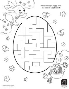 Free Easter Printable - Help Hoppy find his Easter egg basket in this a-mazing coloring activity for kids! Easter activities Add an A-MAZE-ing Addition to Your Easter Basket – FREE Printables Easter Art, Hoppy Easter, Easter Crafts For Kids, Easter Activities For Kids, Easter Worksheets, Easter Printables, Free Printables, Printable Mazes, Kindergarten Worksheets
