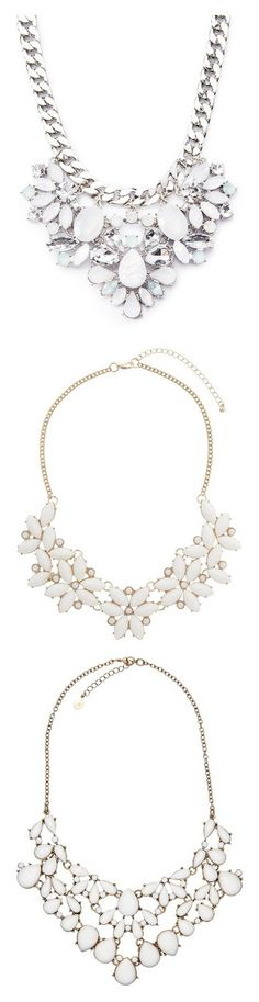 """Statement necklaces- white"" by booboored ❤ liked on Polyvore featuring jewelry, necklaces, accessories, gemstone necklace, statement necklace, chunky chain necklaces, curb link chain necklace, gemstone statement necklace, collares and colares"