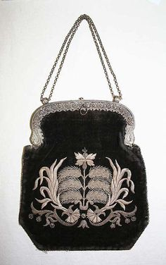 19th century Bag ~ German ~ Metropolitan Museum Of Art <3  Looks like metallic embroidery to me :)
