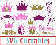 Princess Crown SVG, Princess Monogram, Wand, DXF, EPS, Vector, digital cutting file for cutting machines by SVGCUTTABLES on Etsy