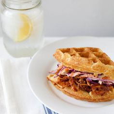 Barbecue Chicken and Waffle Sandwiches - A new spin on a classic pairing, topped with a light, fresh veggie slaw.