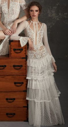 Top 55 favorite wedding dresses – Outfit Inspiration & Ideas for All Occasions Boho Wedding Dress, Wedding Dress Styles, Bridal Dresses, Wedding Gowns, Prom Dresses, Boho Fashion, Fashion Dresses, Vintage Fashion, Fashion Design