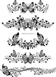 patrones de vectores,patrones de mariposa,patrones de estilo Europeo,encaje,música,música,ratán,vector de material