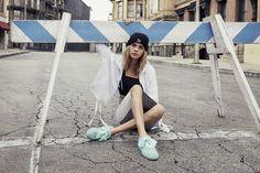 "Cara Delevingne Rocks the Suede Heart Reset ""Aruba Blue"" in Latest PUMA Campaign"