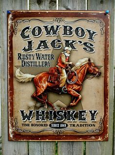 Pin Cowboy Jacks Whiskey Tin Metal Sign Garage Man Cave American West Rodeo Horse Bar  F14