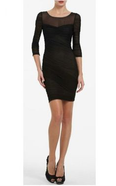 Long-Sleeves BCBG Black Tight Cocktaill Dress