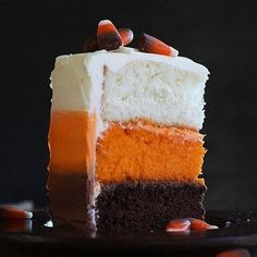 Inspired by #GBBO and with #Halloween not TOO far away why not try your hand at this #CandyCorn #Cake. Ingredients 1 box of #BettyCrocker White Cake Mix 1 box Betty Crocker Chocolate Cake Mix 3 containers of Betty Crocker White Frosting 1 container of Betty Crocker Chocolate Frosting Orange Extract or Food Colouring Method Bake the chocolate cake in an 8 inch round cake tin. Youll only be using one cake so you can use eat or freeze the other one! Prepare your white cake mix as instructed on…