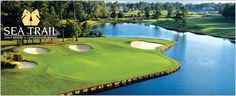 Golf Courses Just over the border in North Carolina is the Rees Jones Golf Course at Sea Trail Golf Resort. The course offers a straightforward layout surrounded by sparkling lakes and trees. Sunset Beach Nc, Ocean Isle Beach, Vacation Sweepstakes, Vacation Deals, Myrtle Beach Golf, Golf Course Reviews, Best Golf Courses, Travel And Tourism, Beach Resorts
