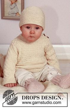 DROPS Baby - Jumper with pattern and hat in Safran, socks in Angora-Tweed and blanket in Karisma Superwash. - Free pattern by DROPS Design Baby Knitting Patterns, Baby Cardigan Knitting Pattern Free, Crochet Dolls Free Patterns, Hoodie Pattern, Knitting For Kids, Free Knitting, Drops Design, Crochet Kids Scarf, Crochet Baby Hats