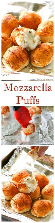 Mozzarella Puffs - dough stuffed with cubes of mozzarella cheese and brushed with pizza sauce. You could also add some pepperoni inside! These are so quick and easy. the-girl-who-ate-everything.com