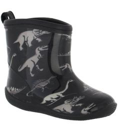 d4b8d2ac7691 Capelli New York Shiny Dinosaur Toddler Boys Racer Body Jelly Rain Boot  Black Combo 4