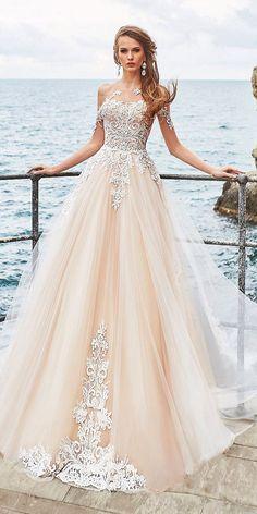Top 24 Wedding Dresses For Celebration ❤ wedding ideas part 2 a line tatto sweetheart beige skirt oksana mukha ❤ See more: http://www.weddingforward.com/wedding-ideas-part-2/ #weddingforward #wedding #bride