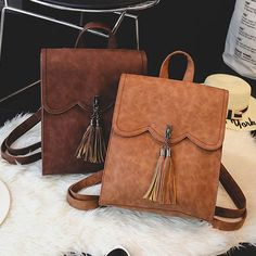 Cheap Retro Simple PU Tassels Women College Backpack For Big Sale! Lace Backpack, Retro Backpack, Leather Backpack, Leather Bag, Backpacks For Teens School, Backpack For Teens, School Bags, College Backpacks, Cute Backpacks