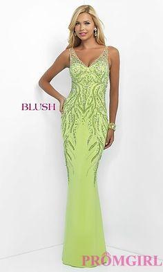 Beaded V-neck Prom Dress by Blush at PromGirl.com