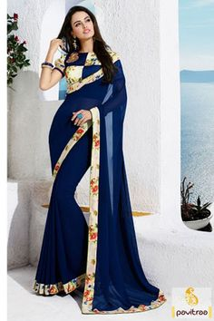 Stunning royal blue formal silk saree. This eye catchugeorgette and silk fabric saree in which printed lace look is polished and dressy appear for women. #saree, #casualsaree more: http://www.pavitraa.in/store/casual-saree/