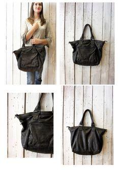 TASC bag 10-Handmade Italian black Leather Messenger Bag di LaSellerieLimited su Etsy