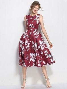 Women Vintage Burgundy Floral Belted Pin-Up Dress