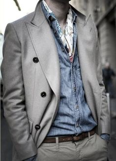 Grey, wool overcoat.