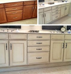 Before/after painted/distressed bathroom cabinetry