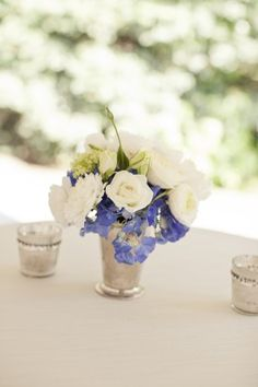 Blue-and-White-Wedding-Centerpiece-in-Mint-Julep-Cup