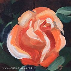 Orange rose flower small original floral painting by cristinajaco, $50.00