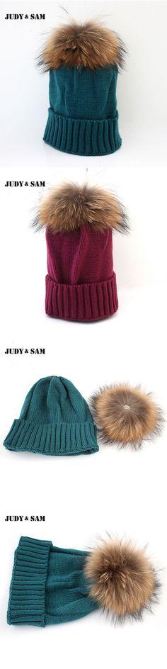 Warm Winter Fashion Lady Real Raccoon Fur Pom Pom Wool Blend Knit Removable Bobble Hat Cap Beanie Sking Women Christmas Gift