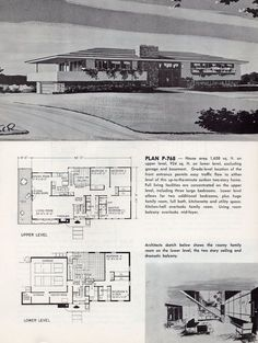 A House Under Home Printing Ideas Printables Collage Sheet Vintage House Plans, Modern House Plans, House Floor Plans, Split Level Floor Plans, Mid Century Ranch, Mid Century House, Building Plans, Building A House, Mcm House